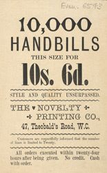 Advert for the Novelty Printing Company
